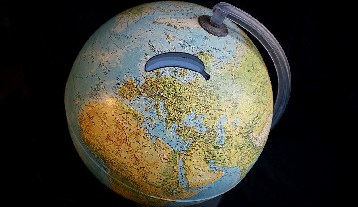 Die Blaue Banane auf dem Globus