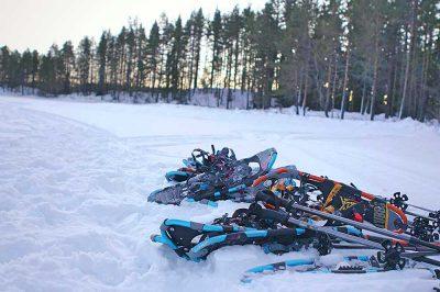 Pause während Huskytour bei Winterreise