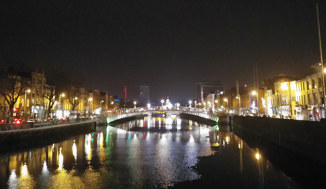 Silvester in Dublin mit Blick auf die Liffey
